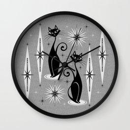 Mid Century Meow Atomic Cats on Cool Gray ©studioxtine Wall Clock