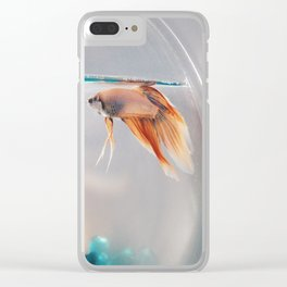 Fish in a fishbowl Clear iPhone Case