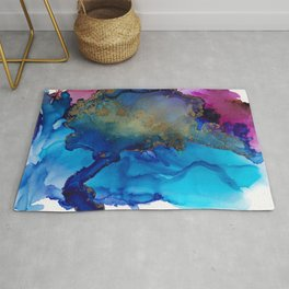 All That Glitters , Blue Magenta Abstract Rug