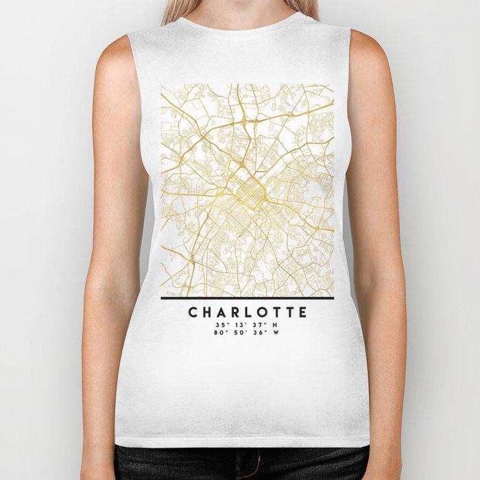 CHARLOTTE NORTH CAROLINA CITY STREET MAP ART Biker Tank