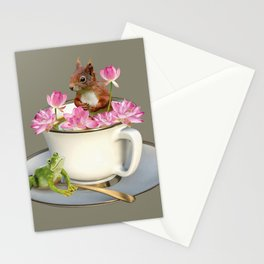 Coffee Cup with Squirrel & Frog pink Lotus Flowers Stationery Cards