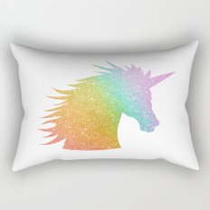 Rainbow Glitter Unicorn Rectangular Pillow