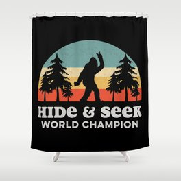 Retro Bigfoot Hide & Seek World Champion Shower Curtain