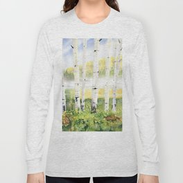 Behind The Birch Trees Long Sleeve T-shirt