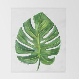 Monstera Leaf Watercolor Painting Throw Blanket