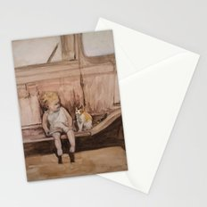 Going Places, a child and cat friendship Stationery Cards