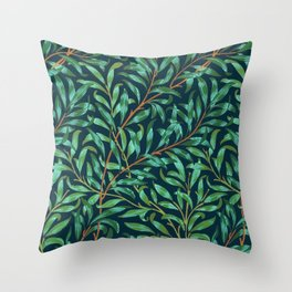 Midnight leaves Throw Pillow