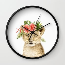 Baby Lion Cub with Flower Crown Wall Clock