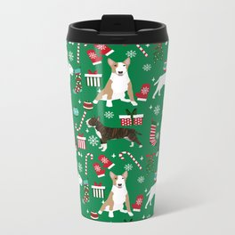 Bull Terrier christmas holiday pet pattern stockings presents dog breed gifts Metal Travel Mug