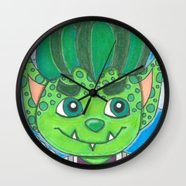 Young Goblin with stuffed dog Wall Clock