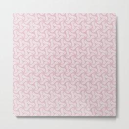 Faux Velvet Pinwheel Pattern in Pink and White Metal Print
