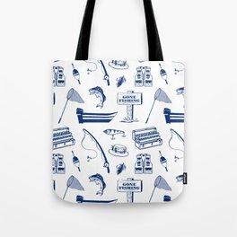 Gone Fishing // Dark Blue Tote Bag