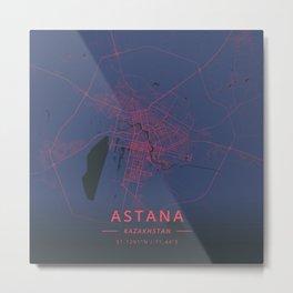 Astana, Kazakhstan - Neon Metal Print