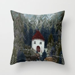 wizard wood Throw Pillow