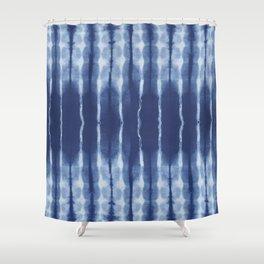 Blue shibori scratched Shower Curtain