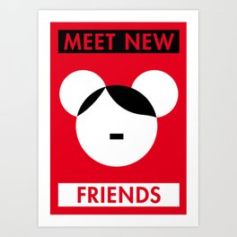 Illustrated new year wishes: #1 MEET NEW FRIENDS Art Print