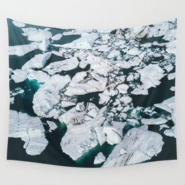 Icelandic glacier icebergs from above - Landscape Photography Wall Tapestry