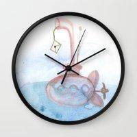 submarine Wall Clocks featuring Submarine by mirelajoja