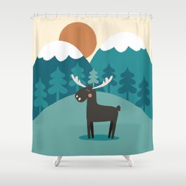 Moose In The Mountains Shower Curtain