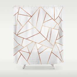White Stone Copper Lines Shower Curtain
