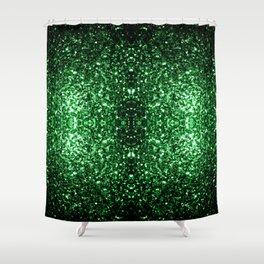 Glamour Dark Green glitter sparkles Shower Curtain