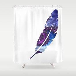 Feathery Flow Feather Cutout - Fractal Art Shower Curtain