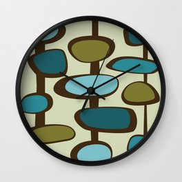 Mid Century Modern Baubles (teal) Wall Clock