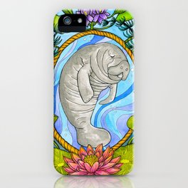 Manatee and Water Lilies iPhone Case