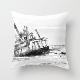 shipwreck aqrebw Throw Pillow