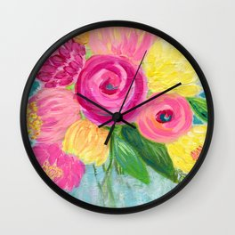 Bouquet of Flowers, Pink and Yellow Flowers, Painting Flowers in Vase Wall Clock