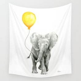 Elephant Watercolor Yellow Balloon Whimsical Baby Animals Wall Tapestry
