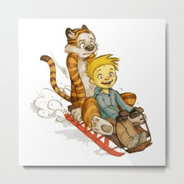 Calvin And Hobbes Speed Metal Print
