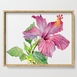 Tropical Pink Hibiscus Watercolor Serving Tray