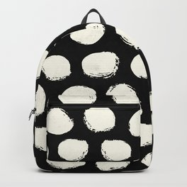 Trendy Cream Polka Dots on Black Backpack