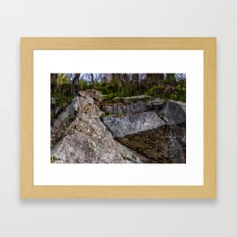 Granite reflection on a quarry in Rockport Framed Art Print