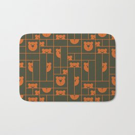 Bear Blocks Burnt Orange And Army Green Bath Mat