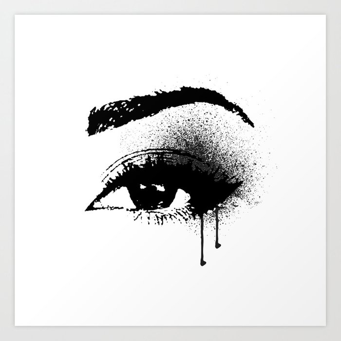 Black And White Eye Makeup With Paint Drips Art Print By