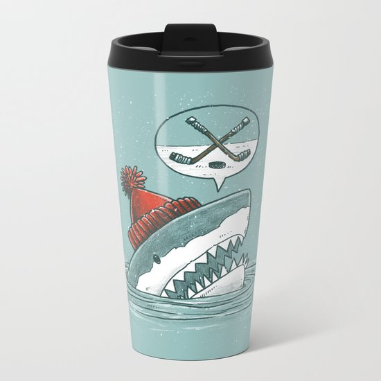 Hockey Shark Metal Travel Mug