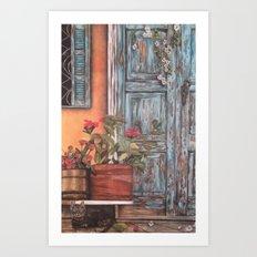 Blue Door with Window Art Print