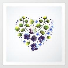 Watercolor decorative blue flowers heart Art Print