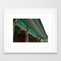 korean Framed Art Prints featuring Korean Roof by HaNuel Jeon