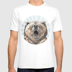 Grizzly White Mens Fitted Tee MEDIUM