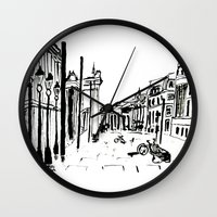 cityscape Wall Clocks featuring CITYSCAPE by hawwa a