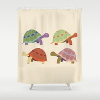 turtles Shower Curtains featuring Turtles by TypicalArtGuy
