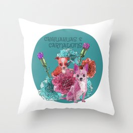 chihuahuas and carnations Throw Pillow