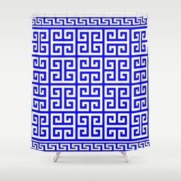 Greek Key (Blue & White Pattern) Shower Curtain