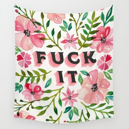 Fuck It – Pink & Green Floral Palette Wall Tapestry