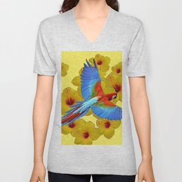TROPICAL BLUE MACAW YELLOW HIBISCUS ART Unisex V-Neck
