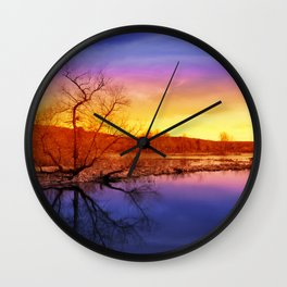 Tranquil Sunset Landscape Wall Clock