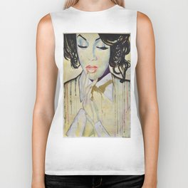 Colourful dripping ink portrait Biker Tank